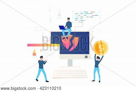 Hackers Stealing Personal Data And Money. Cartoon Criminals Carrying Id Card And Money. Hacker Attac