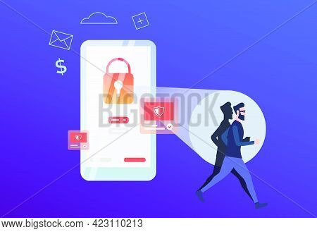Hacker Running From Red Lock On Phone Screen. Smartphone With Alert Notifications. Hacker Attack Fai