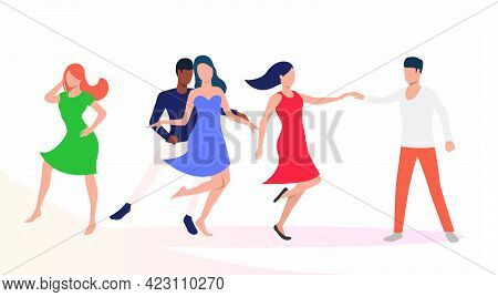 People Dancing Salsa At Party. Leisure, Fun, Performance Concept. Vector Illustration Can Be Used Fo