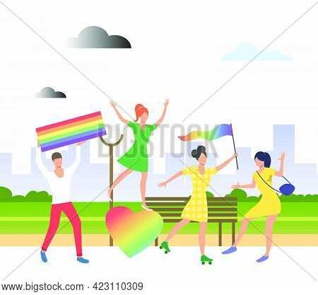 People Holding Lgbt Flags In Pride Parade. Diversity, Discrimination, Freedom Concept. Vector Illust