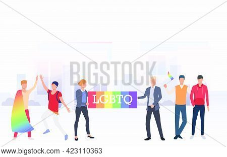 People In Lgbtq Parade In City. Diversity, Discrimination, Freedom Concept. Vector Illustration Can