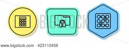 Set Line Password Protection, Folder And Lock And Graphic Password. Colored Shapes. Vector