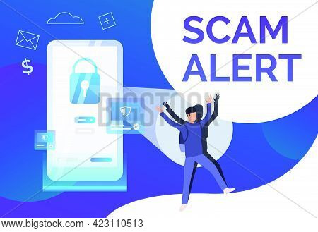 Scam Alert Poster Template. Hacker Keeping Hands Up. Cybercrime Failure Concept. Vector Illustration