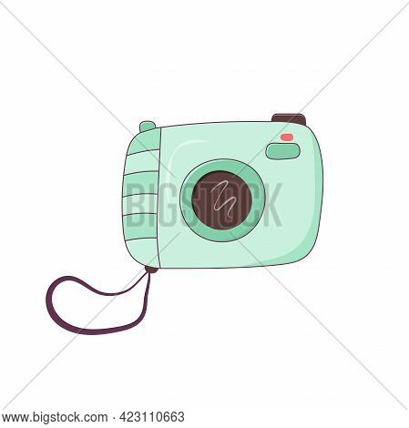 Photo Camera Icon Isolated On White Background. Accessory, For Summer Vacation, Seaside Vacation. Ve