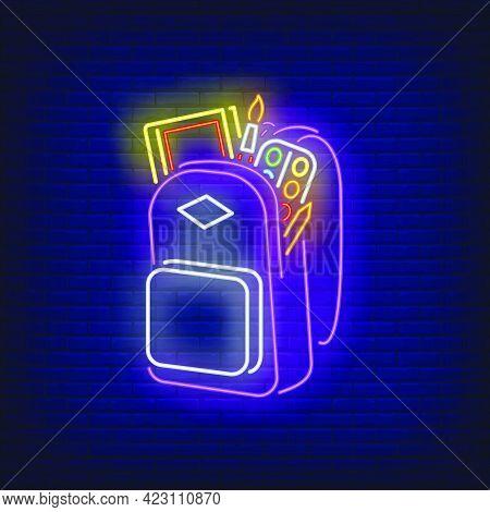 Backpack With Artist's Materials Neon Sign. Artist, Studies, School. Vector Illustration In Neon Sty
