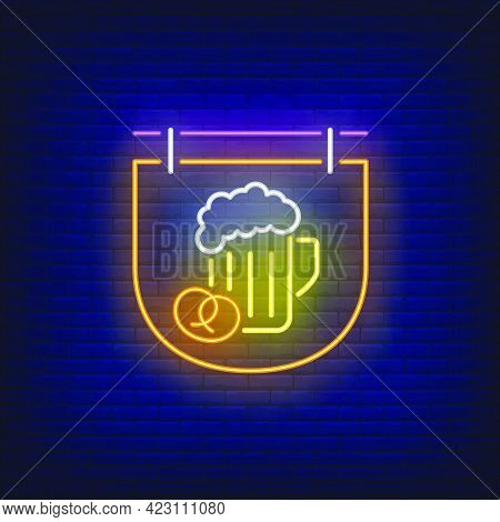 Beer Mug And Pretzel On Signboard Neon Sign. Bar, Pub, Party Design. Night Bright Neon Sign, Colorfu