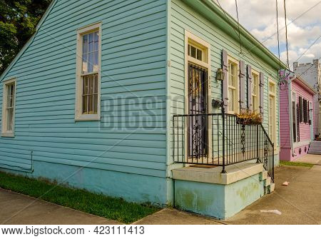 New Orleans, La - May 28: Colorful Cottages In Uptown Neighborhood In The Late Afternoon On May 28,