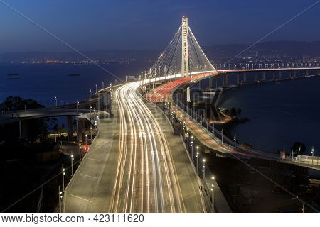 Directly Above The San Francisco-oakland Bay Bridge Eastern Span During The Blue Hour. Treasure Isla