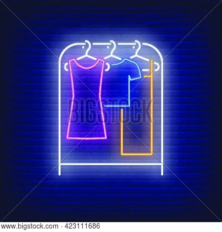 Clothes On Rack Neon Sign. Shopping, Fashion, Garment. New Collection Concept. Vector Illustration I