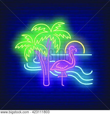 Flamingo On Beach Neon Sign. Summer, Vacation, Holiday. Vacations Concept. Vector Illustration In Ne