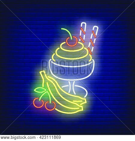Ice Cream With Fruit Neon Sign. Summer, Vacation, Holiday. Vacations Concept. Vector Illustration In