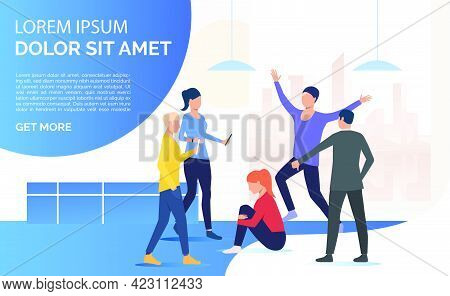 Adult People Standing Around And Bullying Depressed Woman. Abuse, Hate, Aggression Concept. Presenta