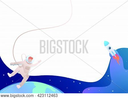 Astronaut Floating In Open Space And Rocket. Spacesuit, Flight, Exploration Concept. Vector Illustra