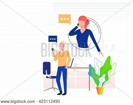 Businessman Consulting Expert On Phone. Man, Woman, Phone Conversation. Communication Concept. Vecto