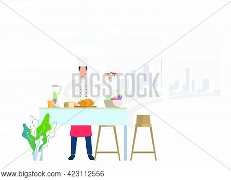 Chef Cooking Dinner At Kitchen Table And Holding Cake. Meal, Restaurant, Dinner Concept. Vector Illu