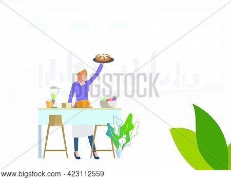 Chef Cooking Dinner At Kitchen Table And Holding Pie. Meal, Restaurant, Dinner Concept. Vector Illus