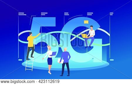 Developers Working On 5g Network. High Speed Connection, Team, Wifi. Technology Concept. Vector Illu