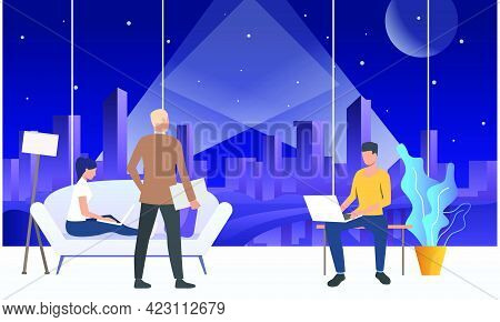 Employees Working On Laptops In Modern Office Space. Wireless Technology Concept. Vector Illustratio