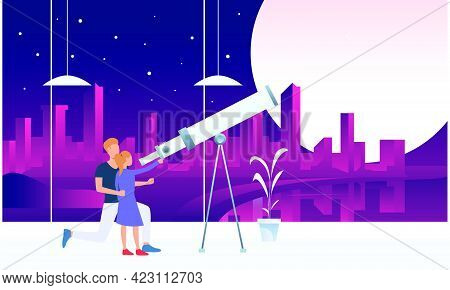 Father And Daughter Looking At Moon Through Telescope. Observation, Equipment, Space Concept. Vector