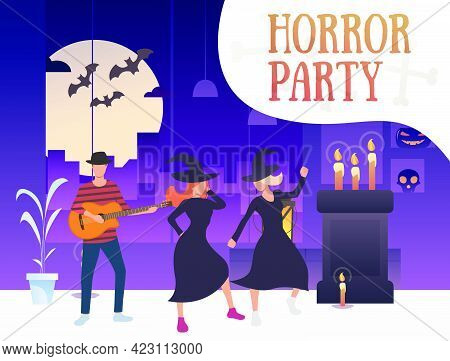 Horror Party Banner With Dancing Witches And Guitarist. Interior, Party, Decorations, Cartoon Charac