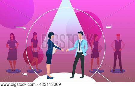 Man And Woman Standing Under Spotlight And Handshaking. Magnifying Glass, Loupe, Job Interview. Huma