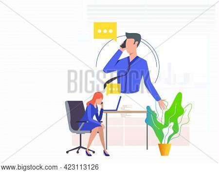 Office Workers Speaking On Mobile Phones. Man, Woman, Speech Bubble, Workplace. Communication Concep