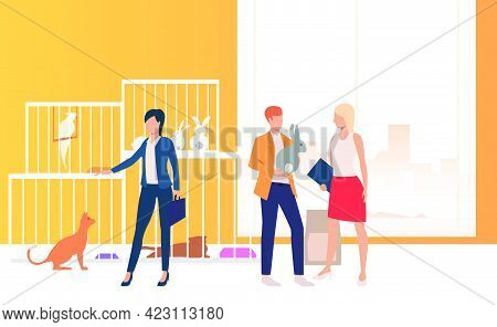 People Adopting Pets From Animal Shelter. Homeless Pets, Veterinary Clinic Concept. Vector Illustrat