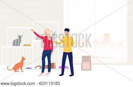 People Adopting Pet From Animal Shelter. Homeless Pets, Veterinary Clinic Concept. Vector Illustrati
