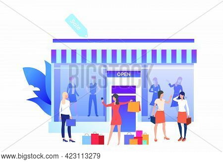 People Standing And Holding Bags Near Shop Front. People Choosing And Buying Clothes In Shop. Fashio