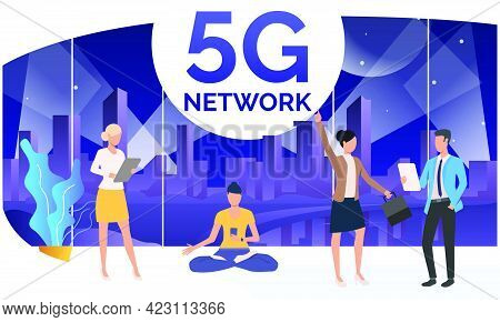People Using 5g Network In Co-working Space. Holding Tablets, Cellphone, Doing Yoga. Technology Conc