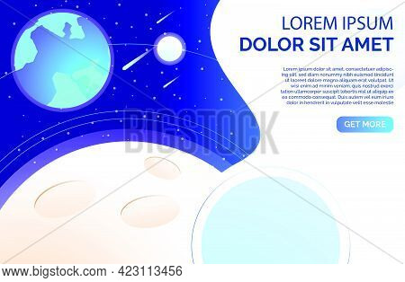 Planet Surface With Craters And Text Sample. Earth, Solar System, Space, Science. Universe Concept.