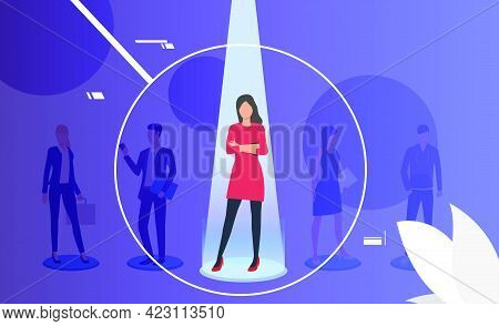 Woman Under Spotlight Through Magnifier Glass. Employee, Candidate, Group Of People. Human Resource