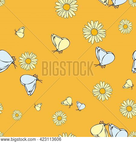 Vector Pastel Green Background Daisy Flowers, Wild Flowers And Butterflies, Insects. Seamless Patter