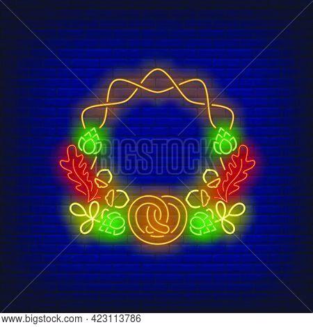 Autumn Leaves, Acorns, Hop Cones And Pretzel Frame Neon Sign. Autumn, Decoration Design. Night Brigh
