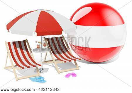 Austrian Resorts, Austria Vacation, Tours, Travel Packages Concept. 3d Rendering Isolated On White B