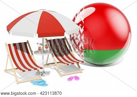 Belarusian Resorts, Belarus Vacation, Tours, Travel Packages Concept. 3d Rendering Isolated On White