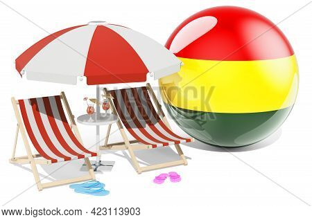Bolivian Resorts, Bolivia Vacation, Tours, Travel Packages Concept. 3d Rendering Isolated On White B