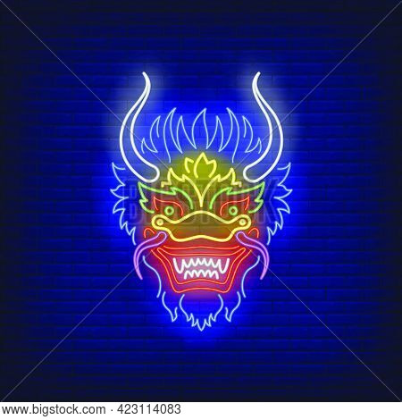 Beautiful Dragon Head Neon Sign. Chinese Mythology, Culture, Fantasy Design. Night Bright Neon Sign,