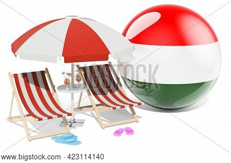 Hungarian Resorts, Hungary Vacation, Tours, Travel Packages Concept. 3d Rendering Isolated On White