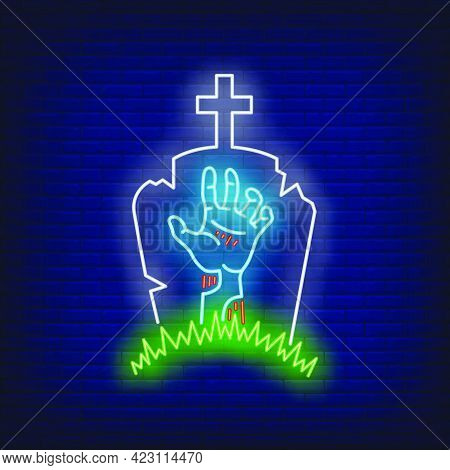 Graveyard With Gravestone And Zombie Hand Neon Sign. Halloween, Monster, Horror Design. Night Bright