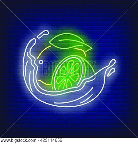 Lemon, Lime And Liquid Splash Neon Sign. Citrus Drink, Beverage, Freshness Design. Night Bright Neon