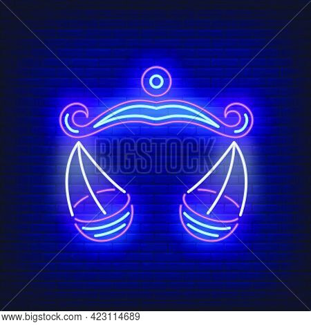Libra Neon Sign. Scales, Balance, Symbol. Astrological Sign Concept. Vector Illustration In Neon Sty