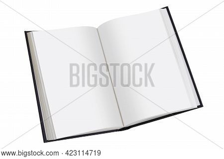 Open Book With Plain Pages On White With Clipping Path