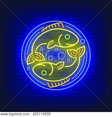 Pisces Neon Sign. Two Fishes In Circle, Bubbles, Water. Astrological Sign Concept. Vector Illustrati