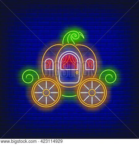 Pumpkin Carriage Neon Sign. Fairytale, Autumn Design. Night Bright Neon Sign, Colorful Billboard, Li