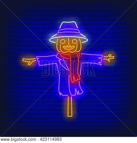 Pumpkin Scarecrow Neon Sign. Halloween Party, Autumn Design. Night Bright Neon Sign, Colorful Billbo