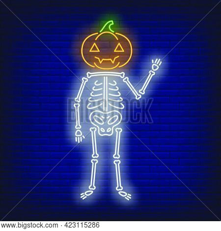 Skeleton With Pumpkin Head Neon Sign. Halloween Party, Autumn Design. Night Bright Neon Sign, Colorf