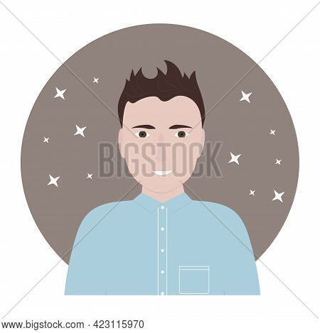 Portrait Of A Middle Age Young Man With Brown Hair. Profile Photo. Flat Vector Illustration.