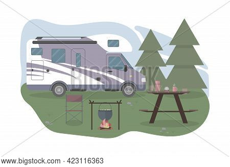 Caravan Or Camper In The Forest. Local Summer Vacation. Concept Vector Illustration In Flat Style In