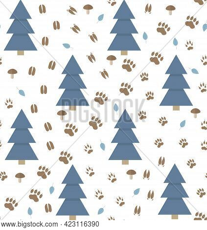 Seamless Vector Pattern With Animal Footprint Tracks And Fir Tree On A White Background. Perfect For